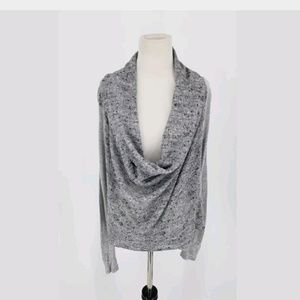 Ella Moss Cowl Neck Top Size Small Gray Speckled
